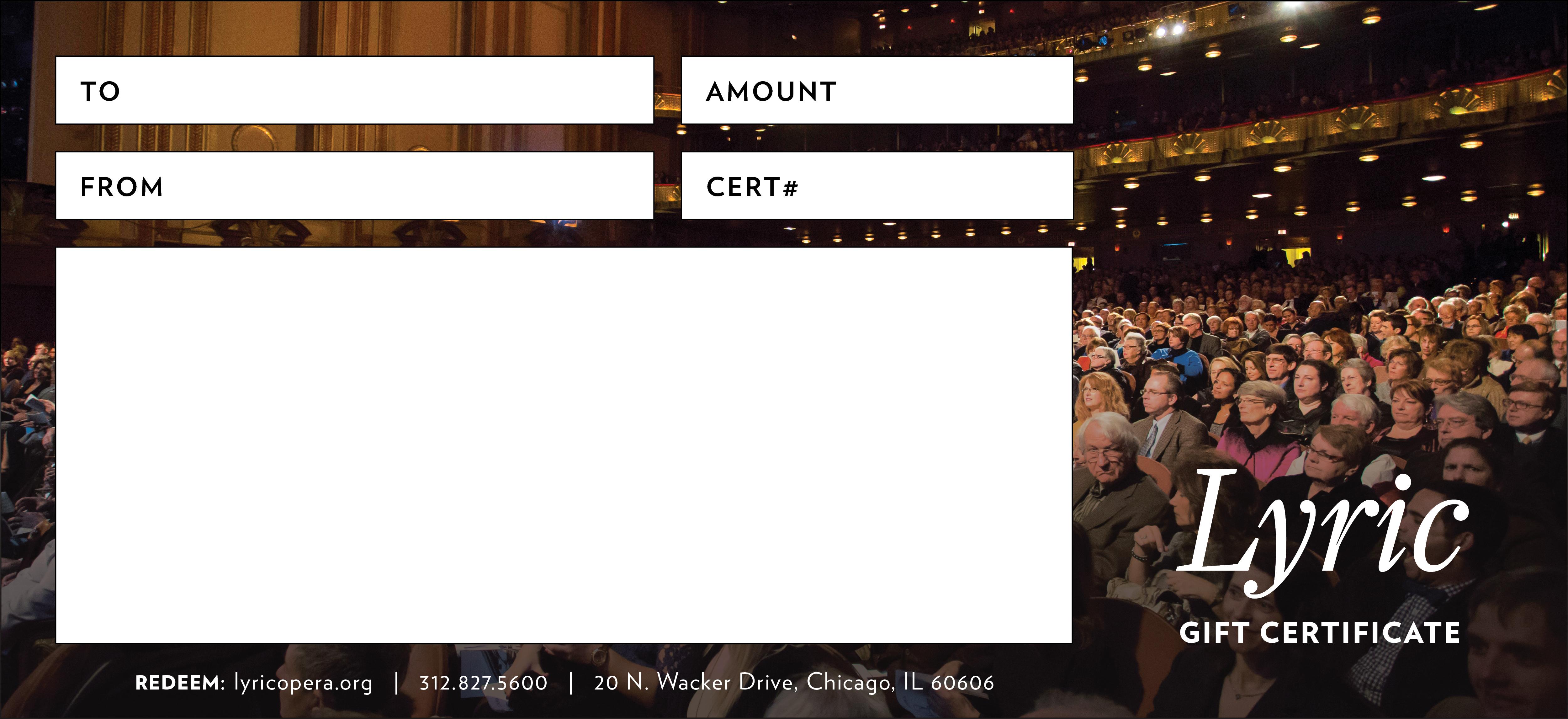 Gift Certificates Lyric Opera Of Chicago