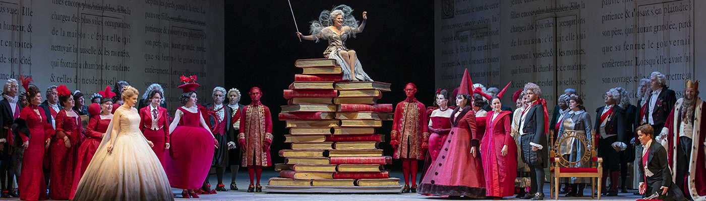 Cendrillon - Cinderella opera - at Lyric Opera of Chicago. Fairy godmother sitting on a stack of books.