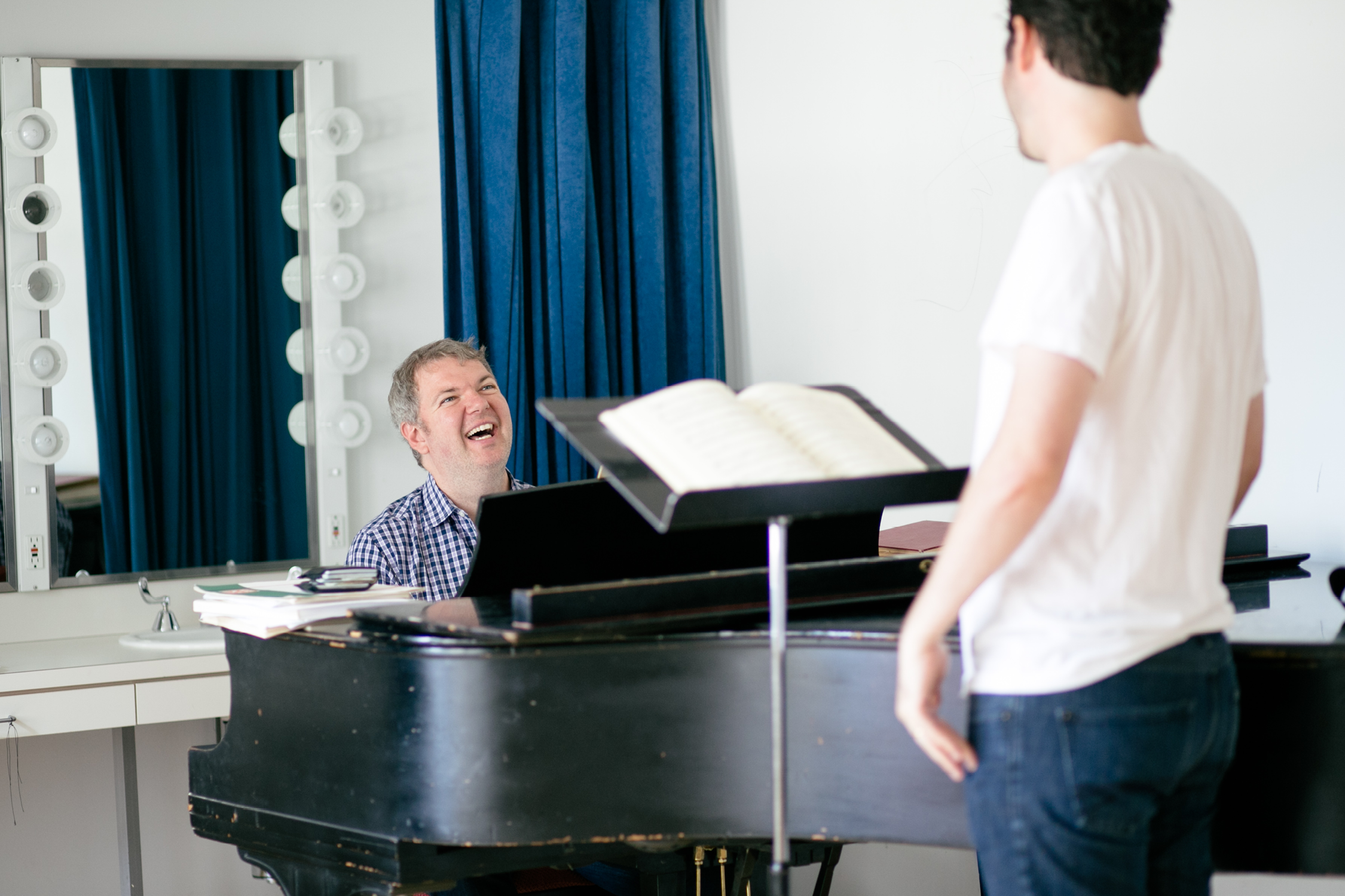 Pianist Craig Terry in rehearsal with an artist